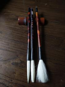 老毛笔:善琏湖笔古塔牌中号精品中颈鹿3支合售(出锋5.5cm)