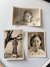 民国美女旗袍照片三张