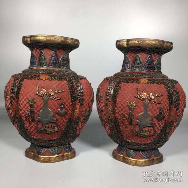 旧藏彩绘漆器平安富贵花瓶摆件一对 重1900克