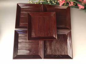 原木盒,实木大漆,果物盘五客,品如图,有轻微自然爆釉 17×2cm