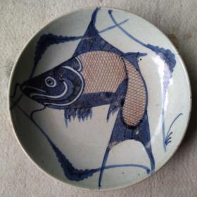 保真全品清代古董古瓷器 清代中期青花釉里红鱼盘 民窑古陶瓷包老