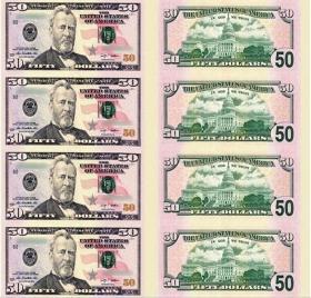 全新早期不流通50美金四连体钞50美元纸币单张收藏