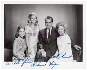 中国人民的老朋友 美国总统 尼克松 Richard Nixon 亲笔签名全家福