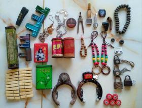 杂项   老铁盒、自行车锁头、印尼、清凉油     一组通走