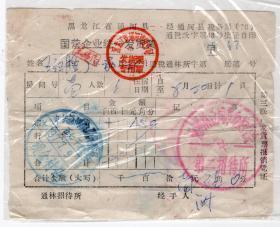 70年代发票单据------1977年黑龙江省通河县国营企业,宿费发货票47(五七干校/革委会)