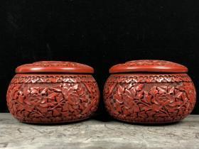 剔紅漆器花開富貴圍棋罐一對