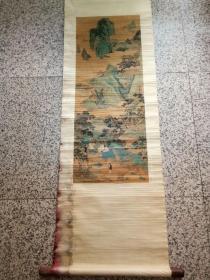 老山水人物画。画心90..34厘米
