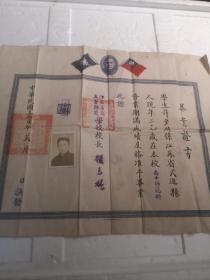 毕业证书(民国36年)高中师范科(40X32)