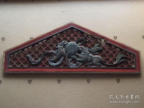 《特价》精工细作,清代民国《双狮戏球》木雕艺术