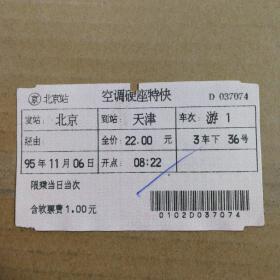 火车票收藏:95年北京——游1次——天津(早期电子票Ⅱ型客票)