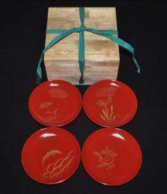 ▲日本回流轮岛涂朱漆沉金刻花木胎老茶托4枚 漆盘茶盘盏托盘老漆器茶道具