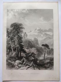 1854年  钢版画 手工雕刻 凹印 版画 《VAL ST.NICOLA》200517