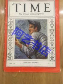"""【现货】时代周刊杂志 Time Magazine, 1937年,封面 """" 作家-海明威"""",其代表作:老人与海,珍贵史料。"""