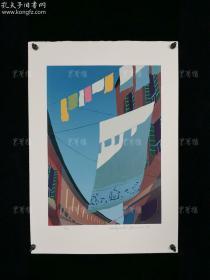 【日本著名版画家Hisayuki Yamace(山濑久幸)1982年套色版画作品《街巷一角》】(编号:6/30,尺寸:50*35厘米,铅笔手写签名,居家办公装饰佳品)
