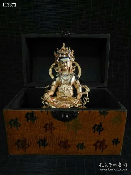 收藏漆器盒装铜鎏金黄财神一尊104185