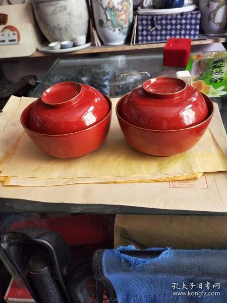 漆器盖碗一对