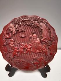 古玩收藏清代剔红漆器赏盘福娃献寿屏风家居客厅摆件114563