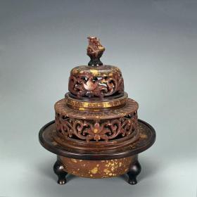 老飞云阁款紫铜洒金錾刻龙钮花卉纹三层熏炉香炉古玩铜器文房收藏