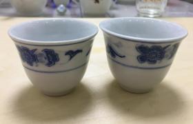 八十年代初,湖南衡阳石湾瓷,小酒杯一对,精美飞鹰底款