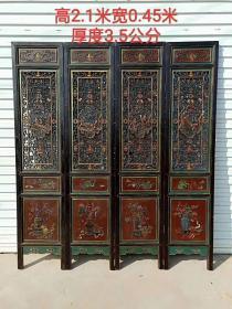 民國時期香樟木雕刻《琴棋書畫》門扇屏風四扇