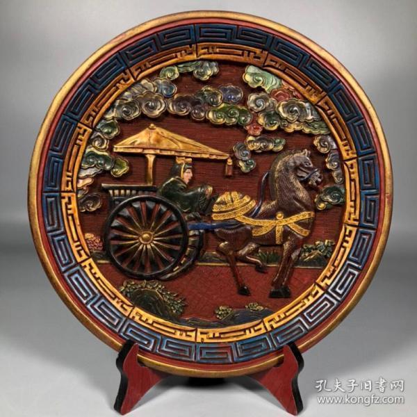 旧藏彩绘漆器圆盘【马拉车】人物故事赏盘摆件