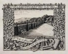 """""""英皇御用铜版雕刻大师""""巴雷特W.P.Barrett铜版藏书票——《海边公园》 1900"""