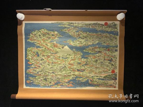 京都江户地形一览图画民国清代老字画浮世绘画春茶室书房中堂挂轴