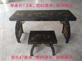 榆木漆器琴桌,手绘百子图案,完整漂亮,精致漂亮