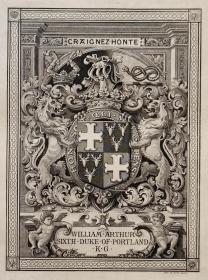 """""""英皇御用铜版雕刻大师""""巴雷特W.P.Barrett铜版纹章藏书票/ 票主:波特兰公爵 1900"""