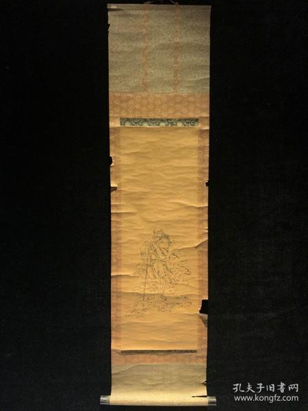 清代木版印刷 三吉神社 清代老字画浮世绘画春茶室书房中堂挂轴