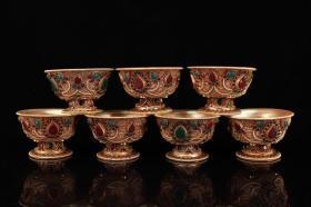 藏银纯手工打造镶嵌宝石掐丝净水碗  佛堂供杯一套     一套重1966克   高7厘米  宽10.5厘米    一套2900元
