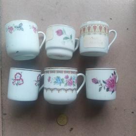 七八十年代中国高陂瓷杯子六个(样杯)