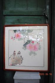 著名画家胡献雅绘画:《露香》【花鸟,彩色】【已装裱,木框方形】
