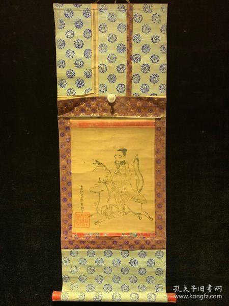 木版印刷 胡桃下画 民国清代老字画浮世绘画春茶室书房中堂挂轴