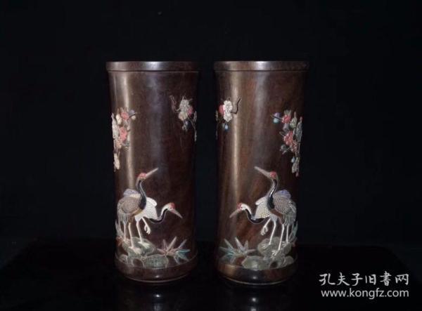紫檀镶嵌百宝帽筒一对,30×13厘米,3500