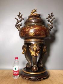 紫铜鎏真金大香炉价格16000元,宽50厘米 高82厘米,重101斤