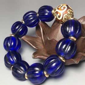 琉璃瓜棱珠配如意纹木化石手链
