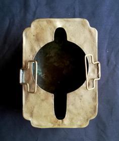 清代:四面工黄铜温酒器