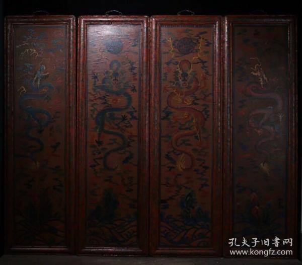 大尺寸木胎漆器四龙屏挂屏一套高100.5cm   总宽121cm   厚2.5cm重11.12公斤
