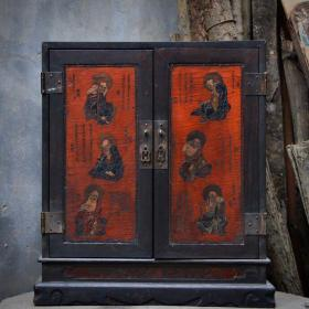 血檀木镶漆器十八罗汉佛龛高53.5cm   宽45cm   厚23cm重11.5公斤