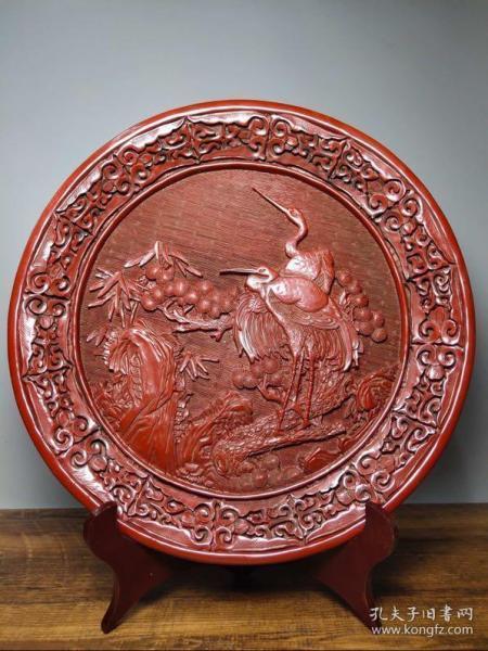 旧藏剔红漆器赏盘《松鹤延年》屏风摆件直径30厘米高3.3厘米,重740克,¥420