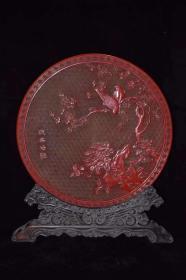 收藏剔红漆器雕刻花鸟插屏摆件Z