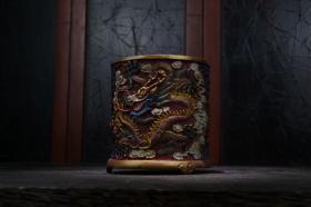 剔红漆器彩绘盘龙笔筒高13.5cm   口径13cm重688克