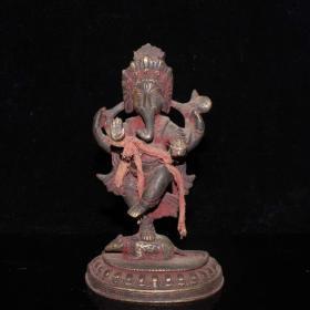 收藏 紫铜带座象鼻财神摆件 做工精细 品相如图A
