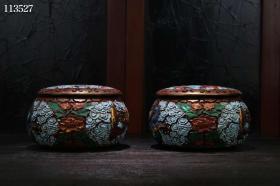 古董收藏剔红漆器彩绘龙纹围棋罐一对