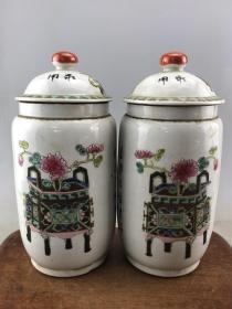 一对粉彩花卉老瓷罐B3705