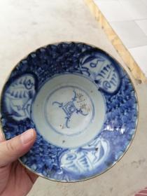 明代晚期,青花瓷器,大碗一个