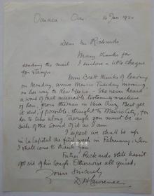 英国著名作家D.H.劳伦斯亲笔信札《查泰莱夫人的情人》作者D.H.Lawrence保真