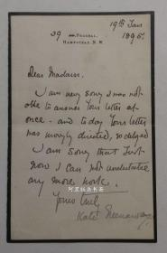 凯特·格林纳威亲笔信札1895年著名女插画家Kate Greenaway