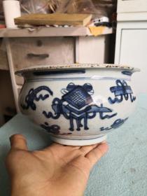 清代手绘青花大香炉标本